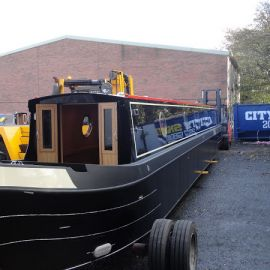 Hand painted canal boat by Aintree Boats